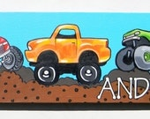 Big Trucks Personalized Painting 8x24
