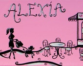 Pink and Black Paris, Personalized Kids Room Painting, 8x24 banner canvas