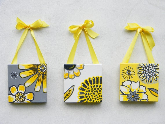 Retro Flower Design, set of three paintings, on 4x4 canvas, yellow and gray