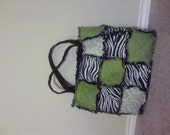 CUSTOM ORDER for AMY please do not purchase unless you are Amy... green and zebra print tote