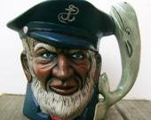 OLD SEA CAPTAIN and whale ceramic pitcher planter 1983 signed