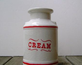 20% OFF Vintage Cream Ceramic Pitcher Jar Vase signed