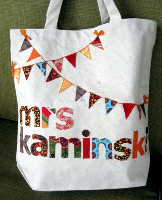 Teacher gift Personalized Canvas Bunting Tote Bag