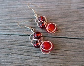 Red Glass Earrings with Silver Wire Art