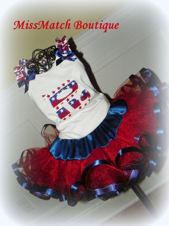 Initial Personalized July 4th, Independence, America, USA Military Set Marines Navy Army Air Force Tutu, Shirt Bottle Cap Hair Bow Boutique