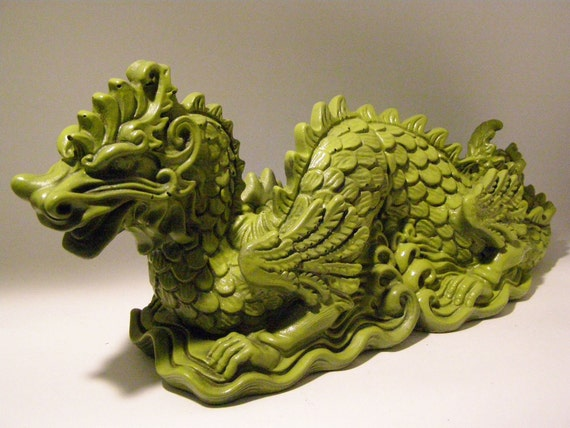 Altered Vintage 1965 Oriental Lime Green Plaster Dragon Bookends Industrial Chic Asian