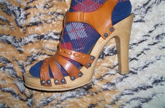 Vintage Vibram Gypsy Leather Wood Platform Sandals Size 9 Hippie BOHO