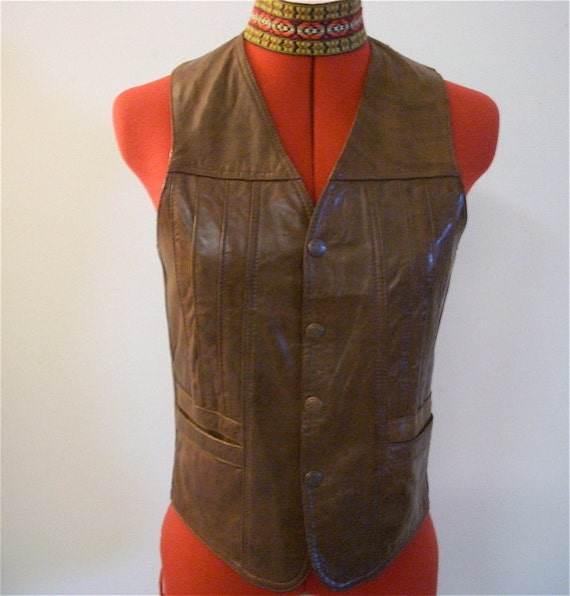 BOHO Vintage Brown Genuine Leather Vest 70s Snap Front Gypsy Biker