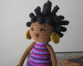 CROCHET PATTERN - African Princess and the Pea Doll Plush Amigurumi Locks Dreads Natural Black Hair Stuffed Toy Baby Girl tutorial PDF