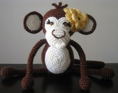 Girly Chocolate Brown Crochet Baby Monkey Vegan Yellow plush toy doll amigurumi stuffed animal kids children baby girl gift MADE TO ORDER