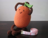 Happy Crochet Kumquat Plush, Vegan Children Kid Baby Toy Food Tropical Fruit, Geekery, Gift Soft Stuffed Animal, Orange MADE TO ORDER