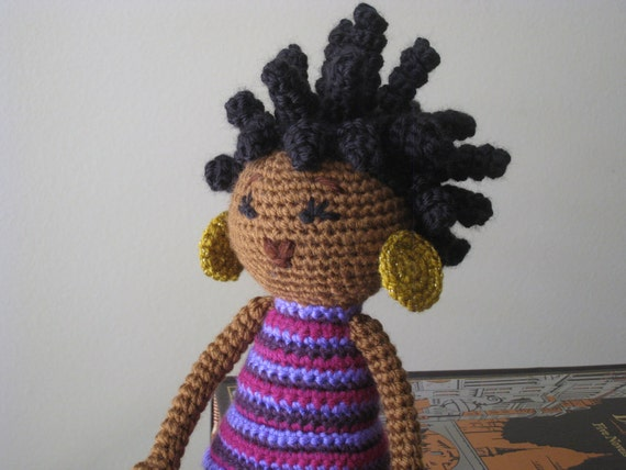 Crochet Hair Doll : CROCHET PATTERN - African Princess and the Pea Doll Plush Amigurumi ...