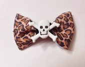 Leopard Animal Print Hair Clip- Bow with Crossbone Skull Center Alligator clip- Womens Accessories- Rockabilly- Pinup