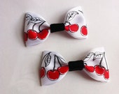 Hair Bows- 2 Ribbon Cherry Print Hair Clips- With Black Center- Alligator Clips