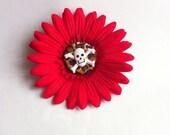 Rockabilly Inspired- Red Gerber Flower- With Leopard Print Center and Skull Cross Bones