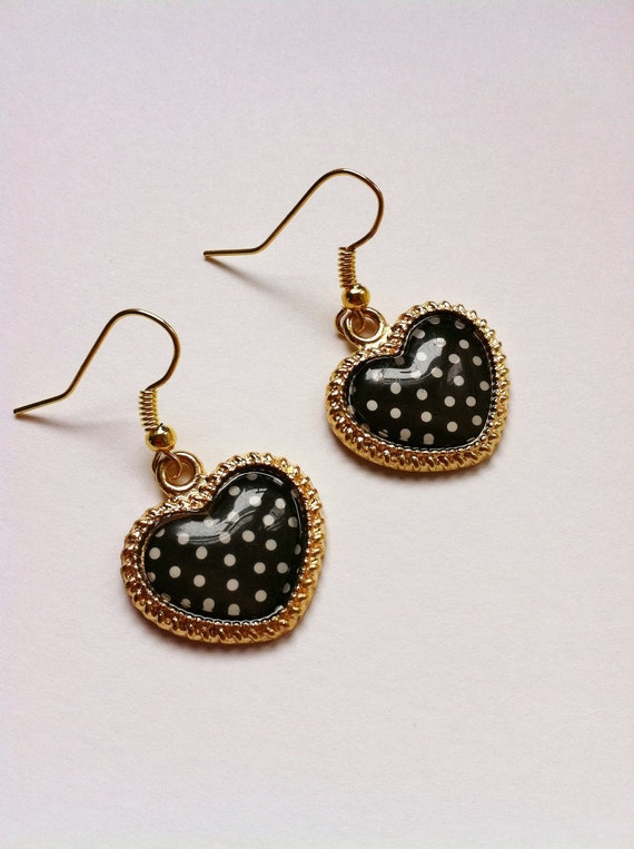 Balck and White- Polka Dots-Heart Shaped- Color Gold Earrings