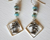 Tropical Island's Earrings-Czech beads & Swarovski Crystal with Coconut-FREE SHIPPING