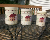 Vintage Country Design Nesting Metal Canisters