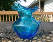 Vintage blue glass fluted pitcher