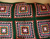Vintage handmade crocheted Afghan with backing