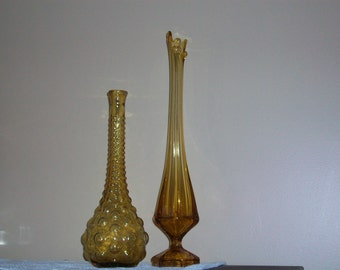 Vintage stretch Gold glass vases
