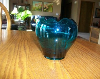 Vintage Blue Glass Fluted Bowl