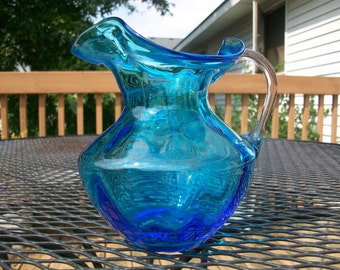 Vintage blue glass fluted pitcher