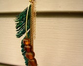 Peacock Feather with Long Beaded Pendant and Gold Chains