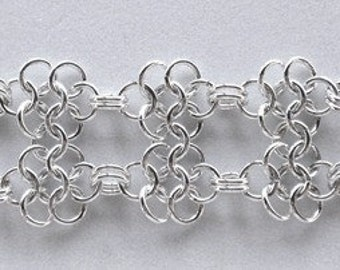 Chain Maille Sterling Silver Double Flower Bracelet