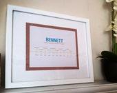 8x10 Custom Artwork, Baby's First Year, Modern Timeline, Professionally Printed