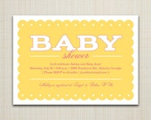 5x7 Yellow and Pink Baby Shower Invitation, Girly Lace, DIY, printable option