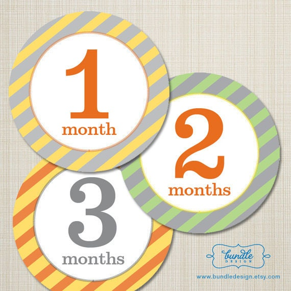 Monthly Onesie Stickers, Yellow, Gray & Orange Diagonal, 3-inch circle stickers, professionally printed