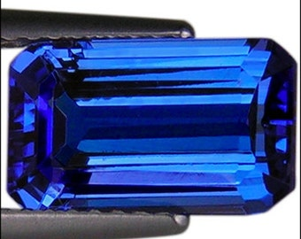 Extremely beautiful 3.43 ct unheated/untreated deep blue violet natural tanzanite emerald cut Flawless