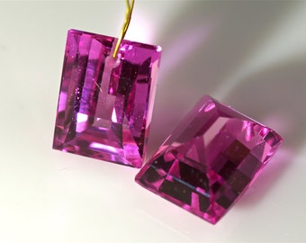 Pink sapphire lab one pair drilled 10.5x14mm
