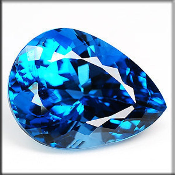 natural heated london blue topaz fancy pear shape weight 15.69 cts