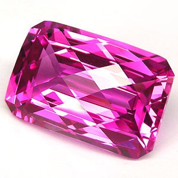 15% OF One beautiful huge focal 51.95 cts hot pink topaz square cut drilled