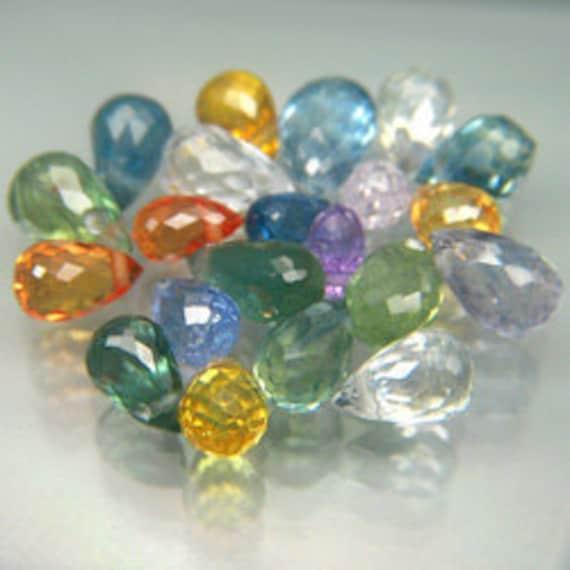 multi color sapphire briolettes drilled21 pces, 6.5 cts