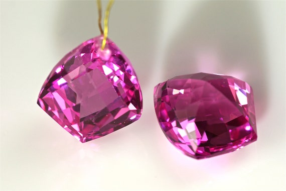 pink sapphire drilled one pairs 14x17mm