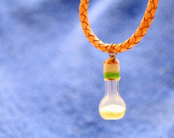 The Firefly Jar Necklace (Bolo Braided Leather)