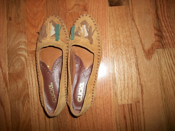 Vintage Clicks moccasin loafer flats Size 7 womens