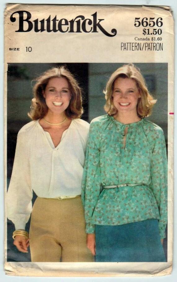 Butterick 5656 1970s Vintage Pattern - Misses Blouse size 10