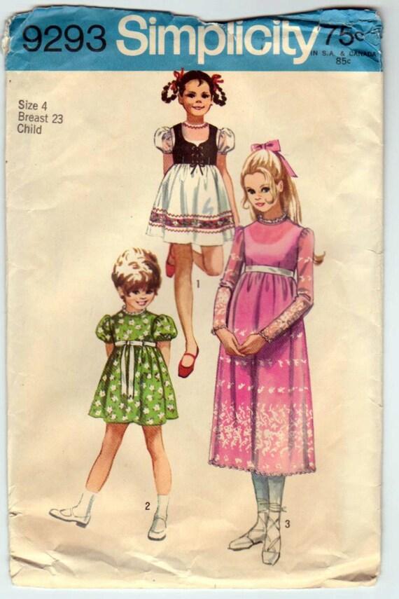 Vintage 1970s Pattern - Simplicity 9293 - Girls' Dress Size 4 - Three Options plus Bolero