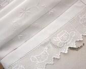 Snowy white linen and crochet lace cloth, finest Irish linen cloth