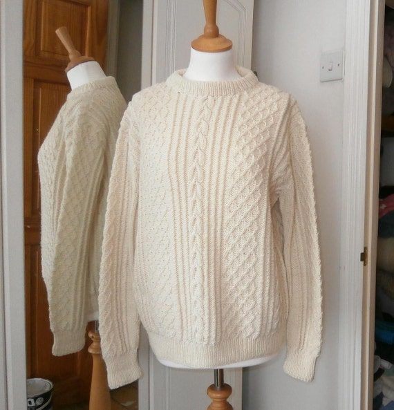 1960s vintage Irish fishermans sweater. Hand knitted in Wales. medium