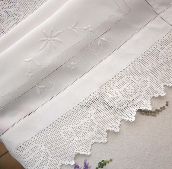 Snowy white linen and crochet lace cloth, finest Irish linen cloth