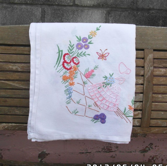 Vintage linen crinoline lady tablecloth. hand embroidered tablecloth