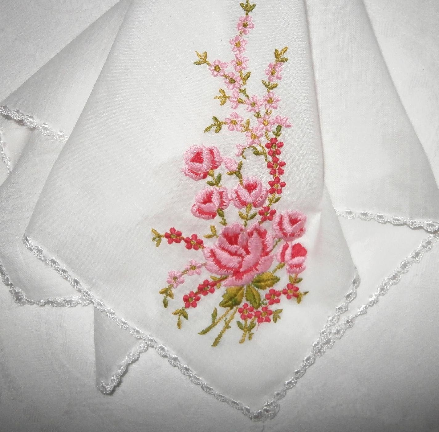 Vintage fine lawn rose pattern embroidered handkerchief