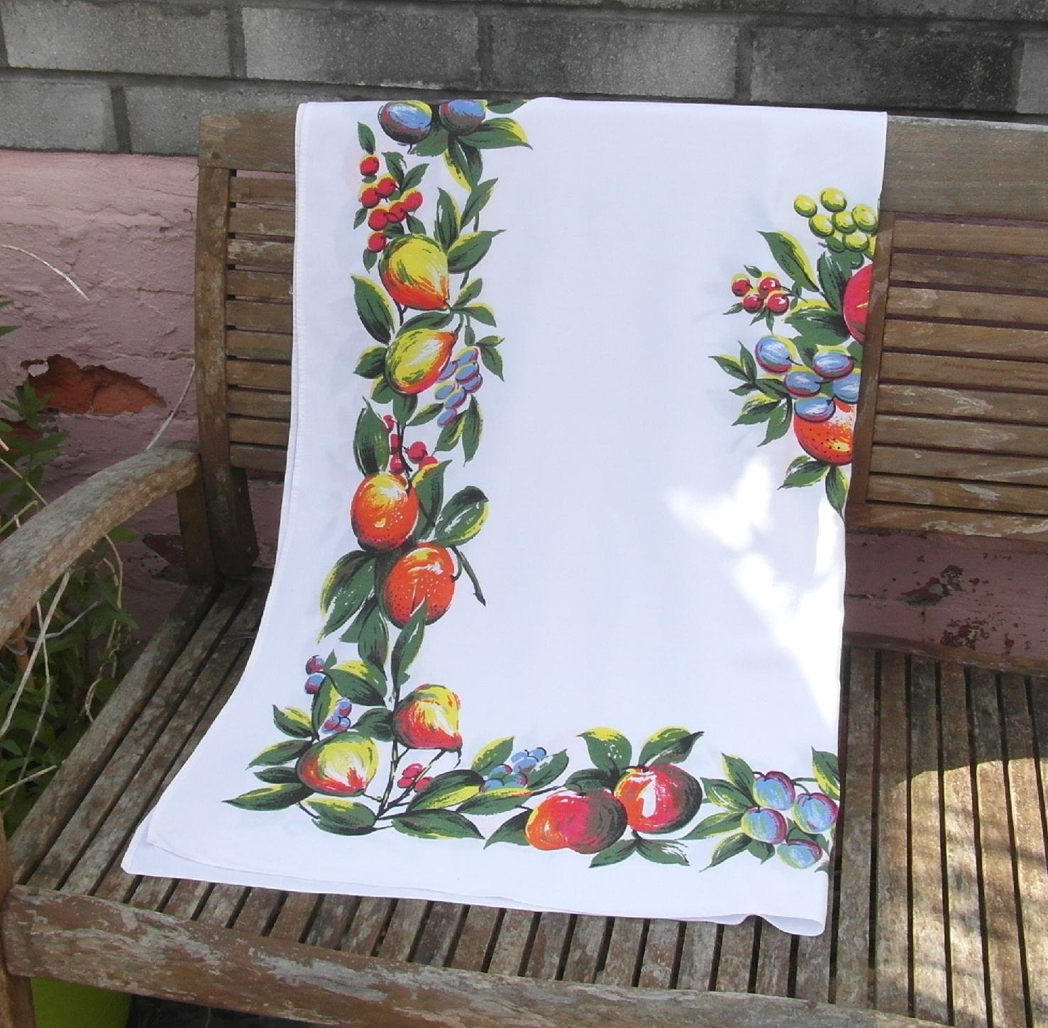 Vintage Tablecloth 1950s Fruit Pattern