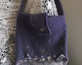 Sweet felted purple wool purse, cotton lined with embroidered flowers, Great Gift