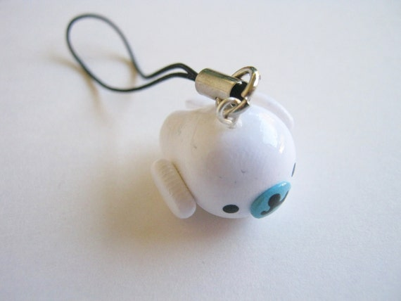 Cute White Mamegoma Seal Cell Phone Charm